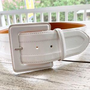 "LAUREN Ralph Lauren White Patent Leather 2"" Belt"